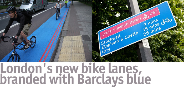 London's new bike lanes, branded with Barclays blue