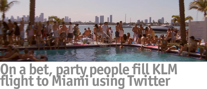 On a bet, party people fit KLM flight to Miami using Twitter
