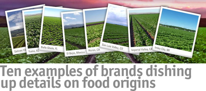 Ten examples of brands dishing up details on food origins
