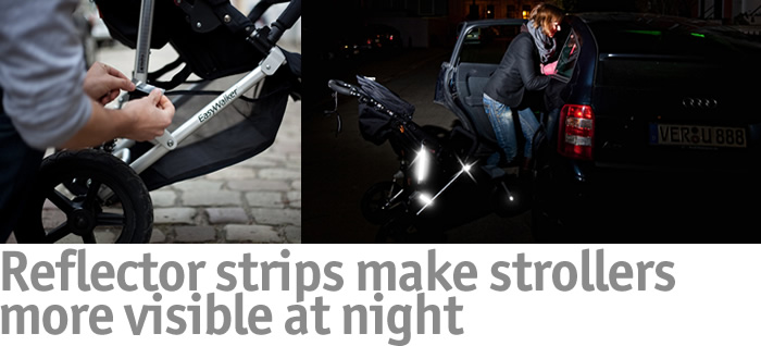 Reflector strips make strollers more visible at night