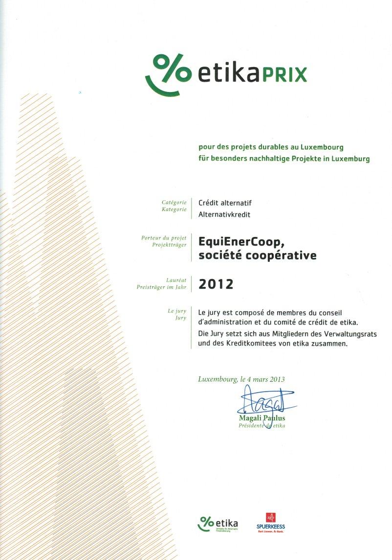 Etika récompense des initiatives durables et innovantes au Luxembourg